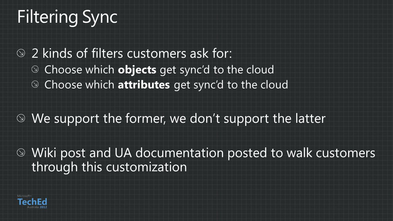 Filtering Sync 2 kinds of filters customers ask for:
