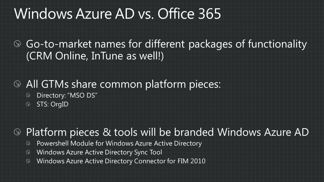 Windows Azure AD vs. Office 365