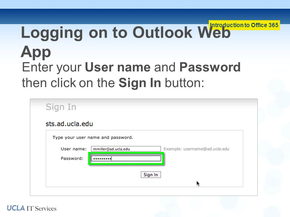 Logging on to Outlook Web App