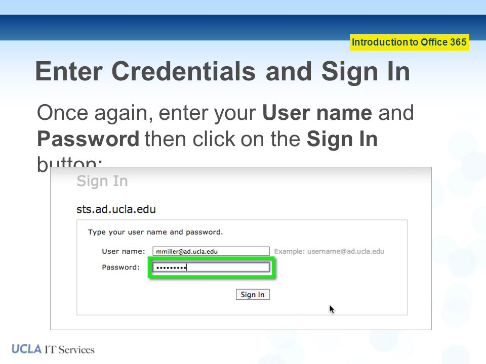 Enter Credentials and Sign In