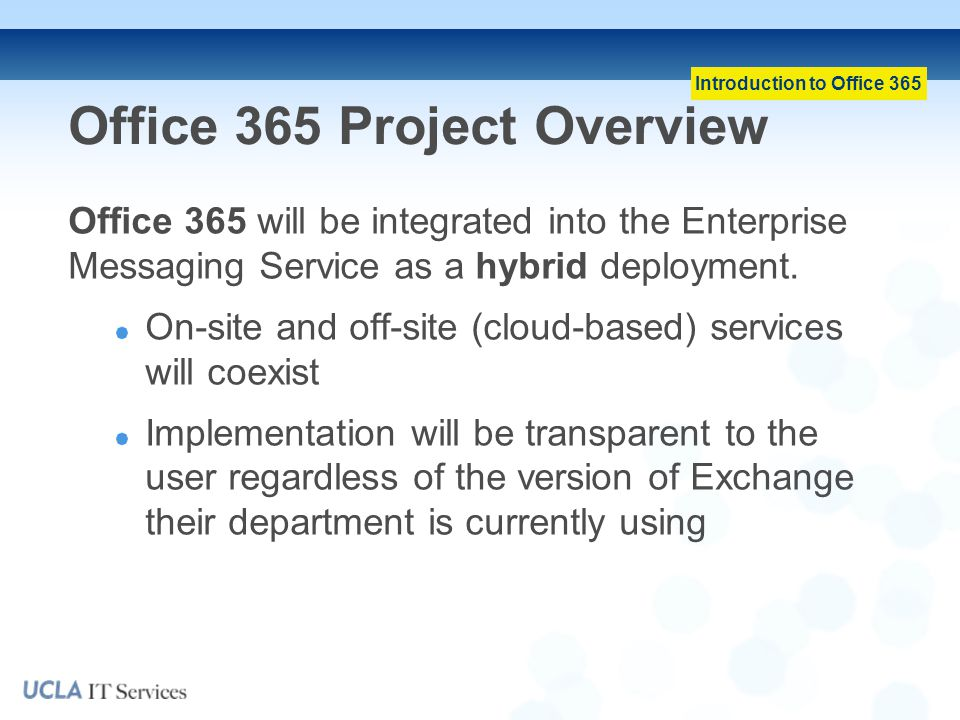 Office 365 Project Overview