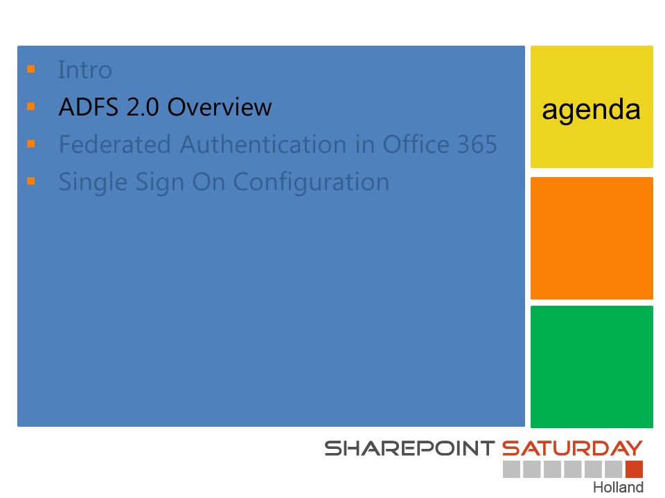 agenda Intro ADFS 2.0 Overview Federated Authentication in Office 365