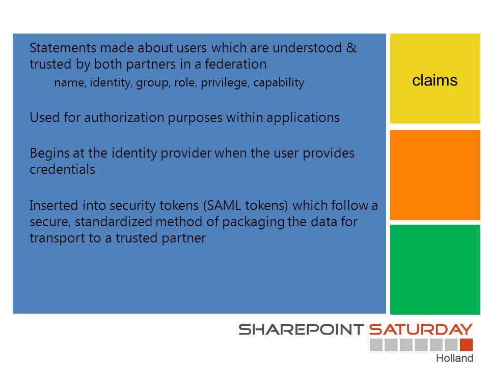 Statements made about users which are understood & trusted by both partners in a federation