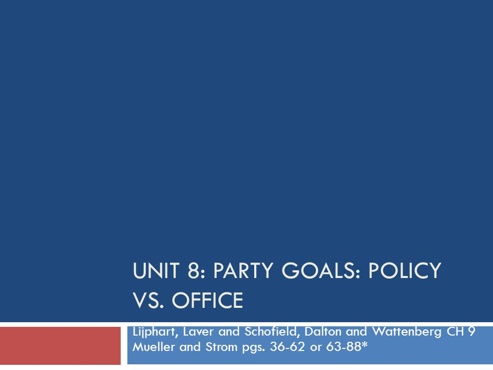 Unit 8: Party Goals: Policy vs. Office