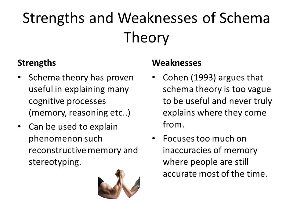 Strengths and Weaknesses of Schema Theory