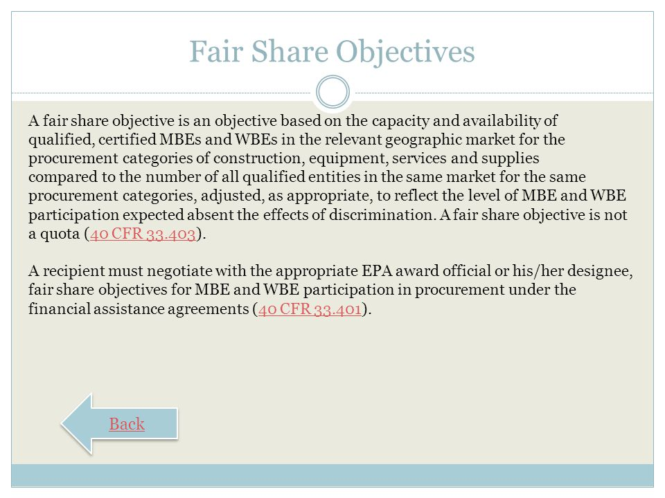 Fair Share Objectives Back