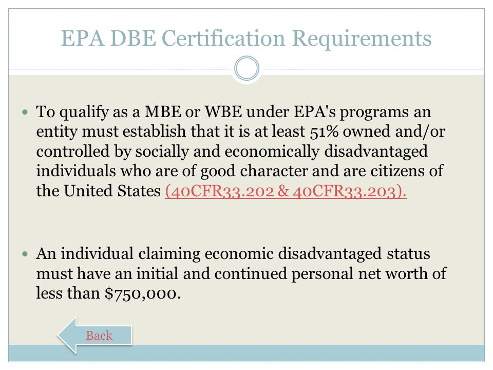 EPA DBE Certification Requirements