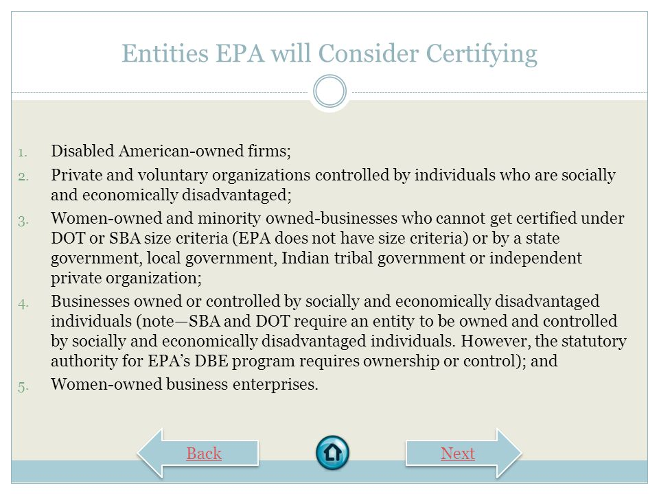Entities EPA will Consider Certifying