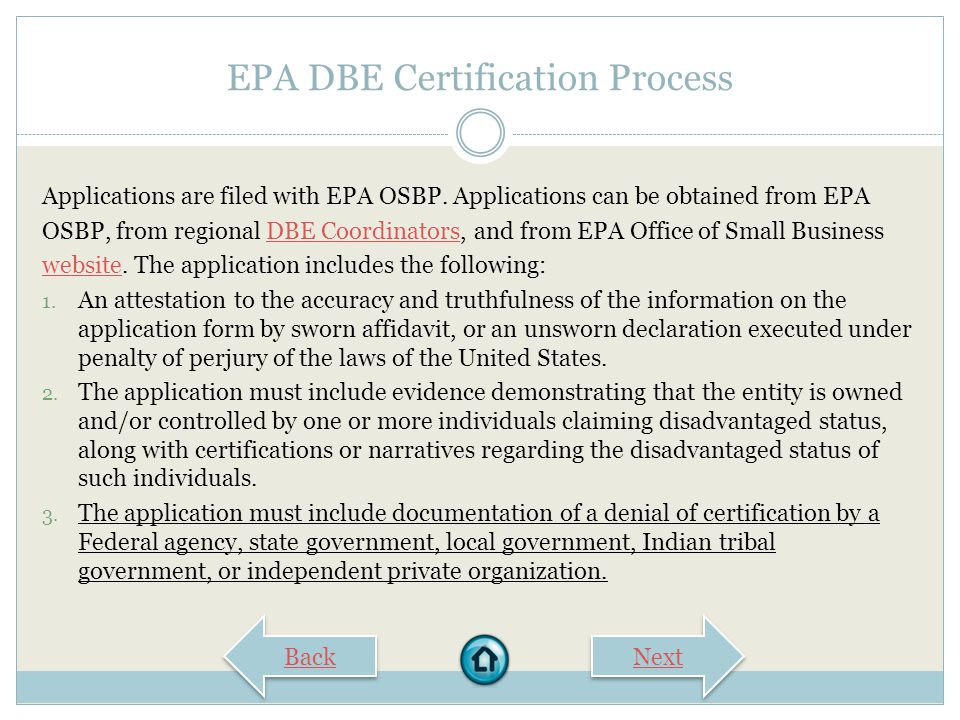 EPA DBE Certification Process