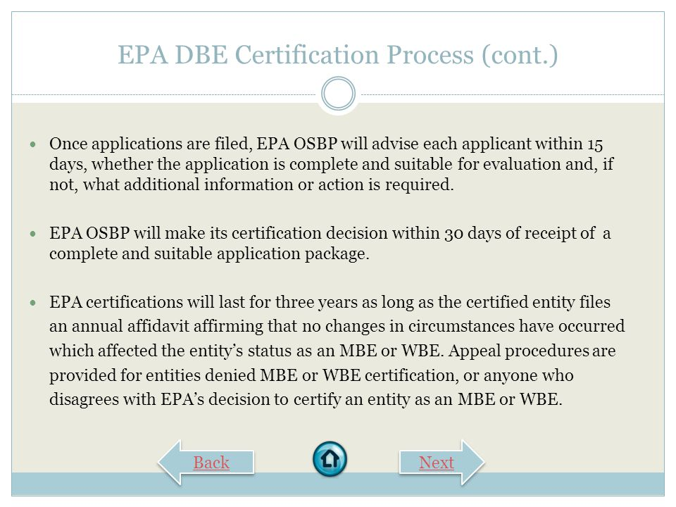 EPA DBE Certification Process (cont.)