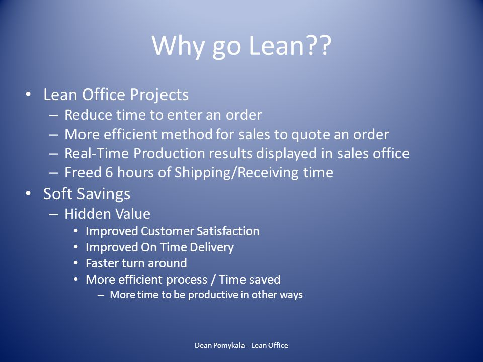 Dean Pomykala - Lean Office