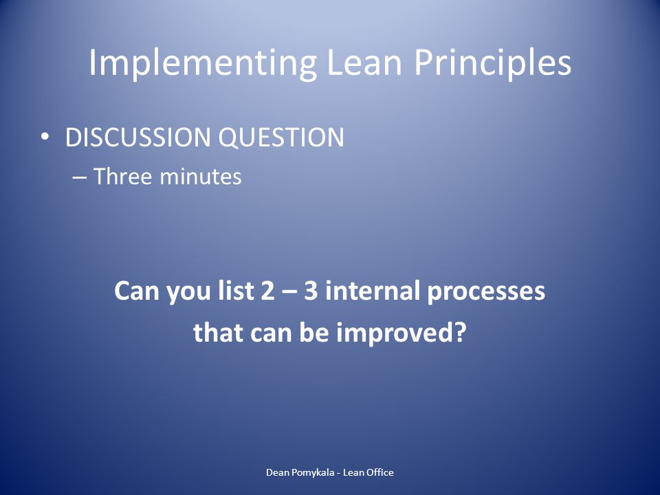 Implementing Lean Principles