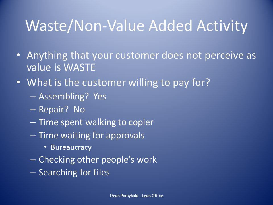 Waste/Non-Value Added Activity