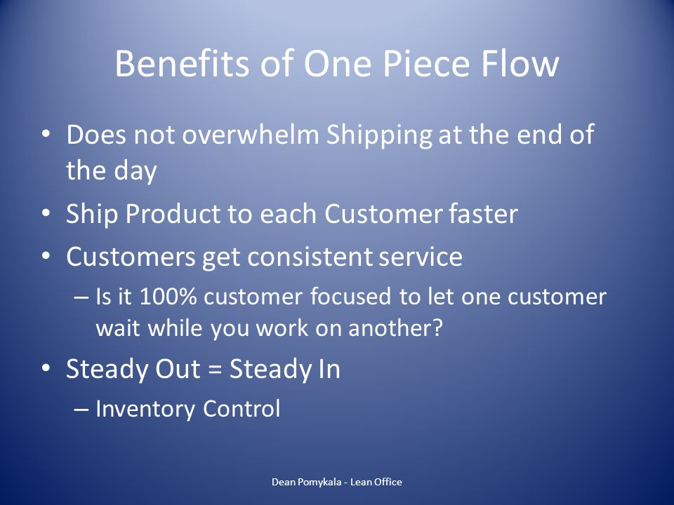 Benefits of One Piece Flow