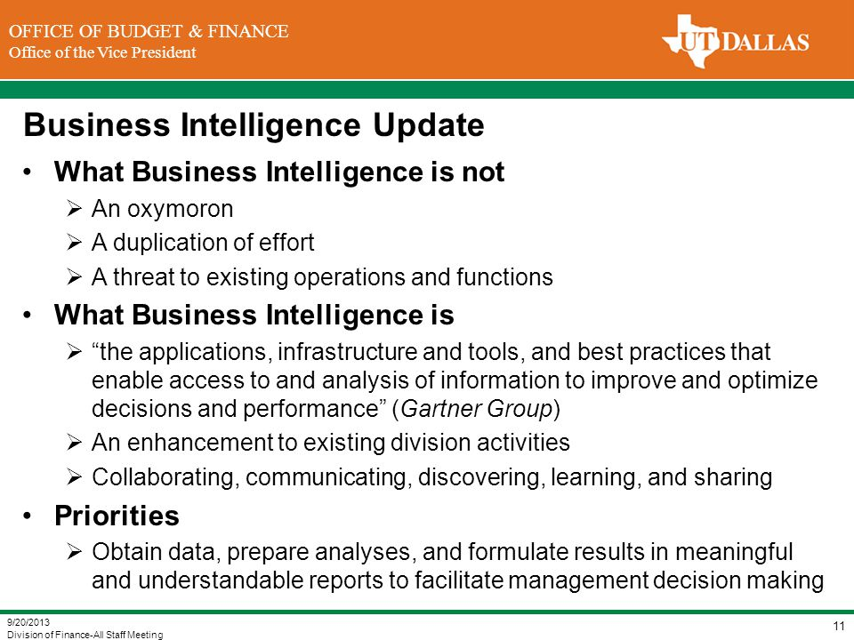 Business Intelligence Update