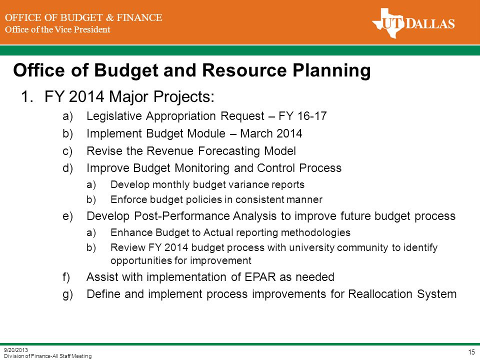 Office of Budget and Resource Planning