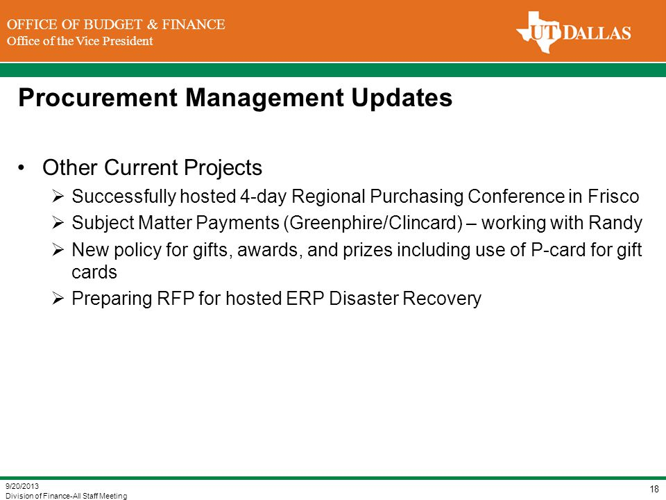 Procurement Management Updates