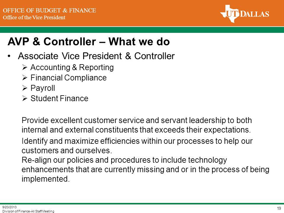 AVP & Controller – What we do
