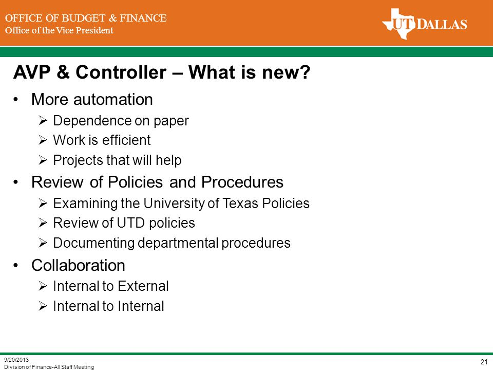 AVP & Controller – What is new