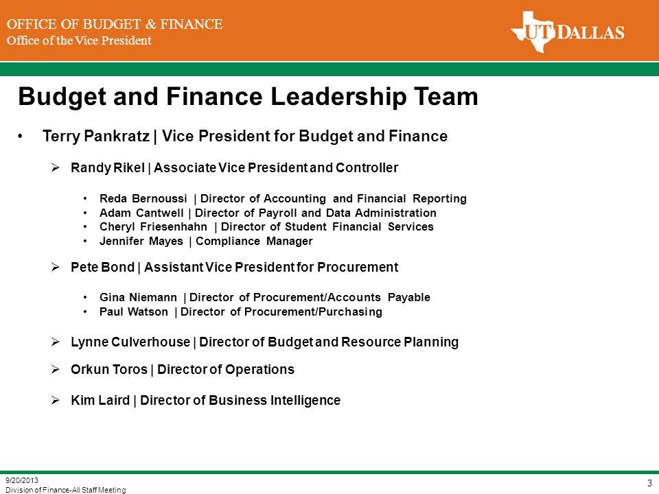 Budget and Finance Leadership Team
