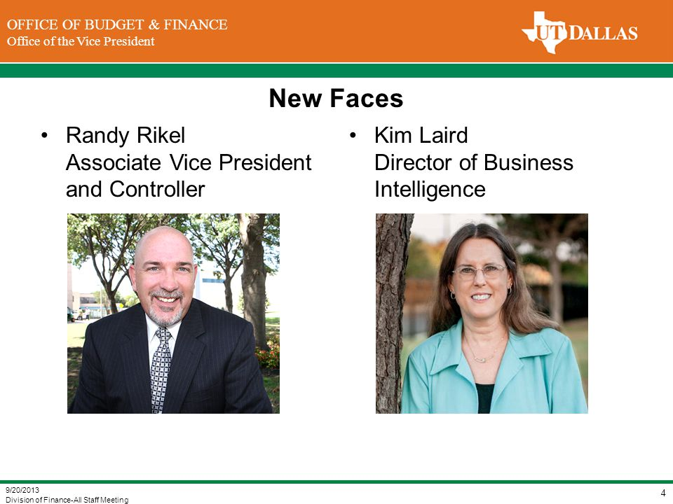 New Faces Randy Rikel Associate Vice President and Controller