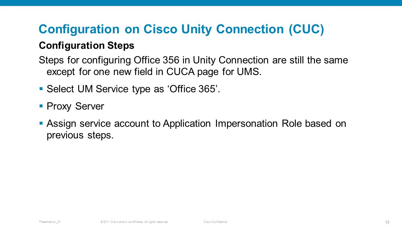 Configuration on Cisco Unity Connection (CUC)