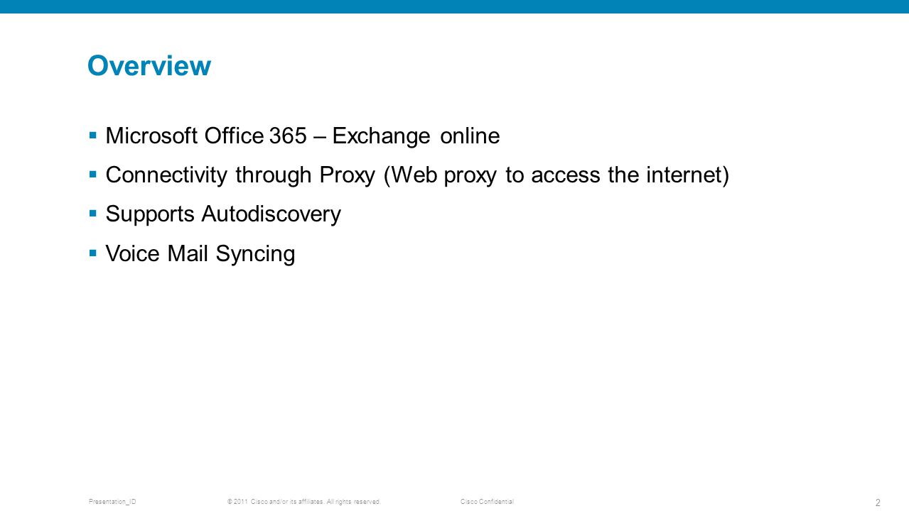 Overview Microsoft Office 365 – Exchange online