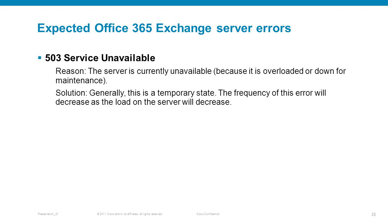Expected Office 365 Exchange server errors