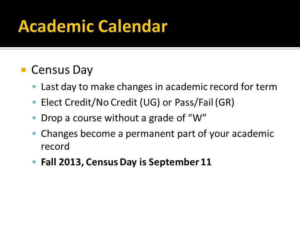 Academic Calendar Census Day