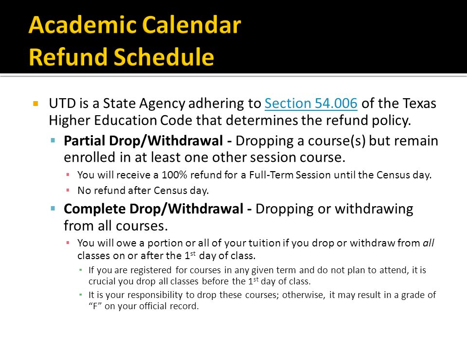 Academic Calendar Refund Schedule