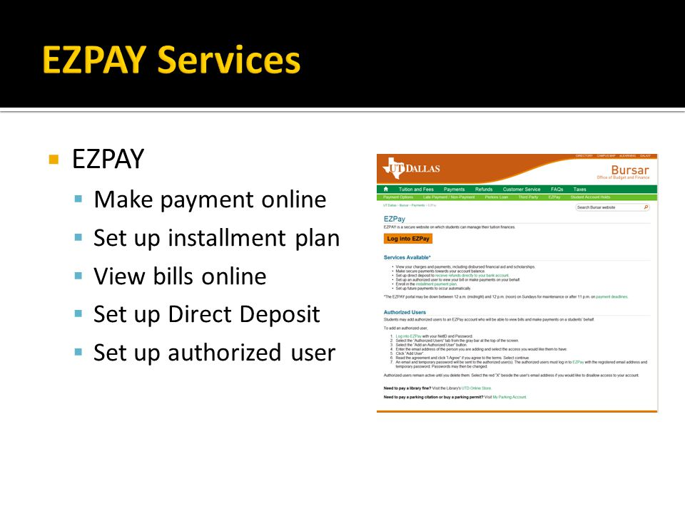 EZPAY Services EZPAY Make payment online Set up installment plan
