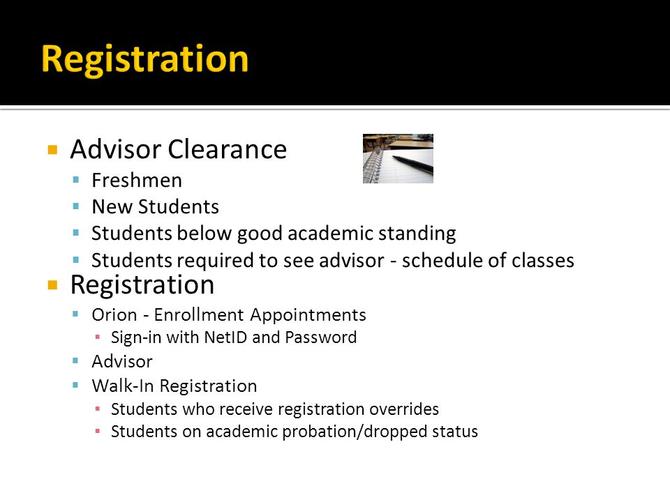 Registration Advisor Clearance Registration Freshmen New Students