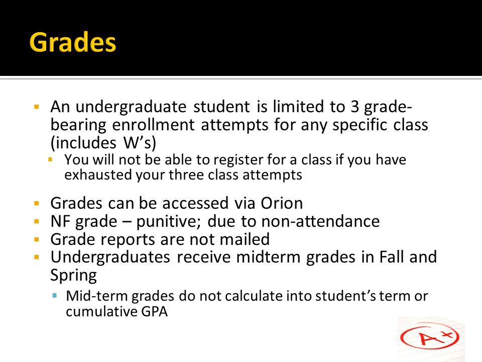 Grades An undergraduate student is limited to 3 grade-bearing enrollment attempts for any specific class (includes W's)
