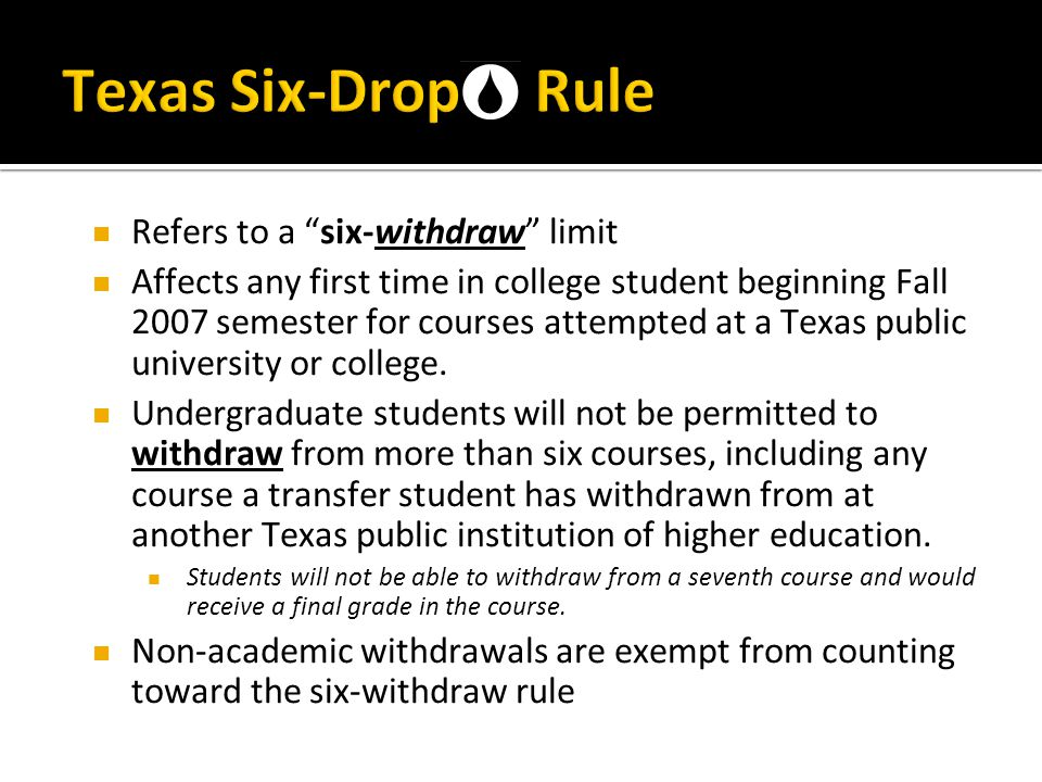 Texas Six-Drop Rule Refers to a six-withdraw limit