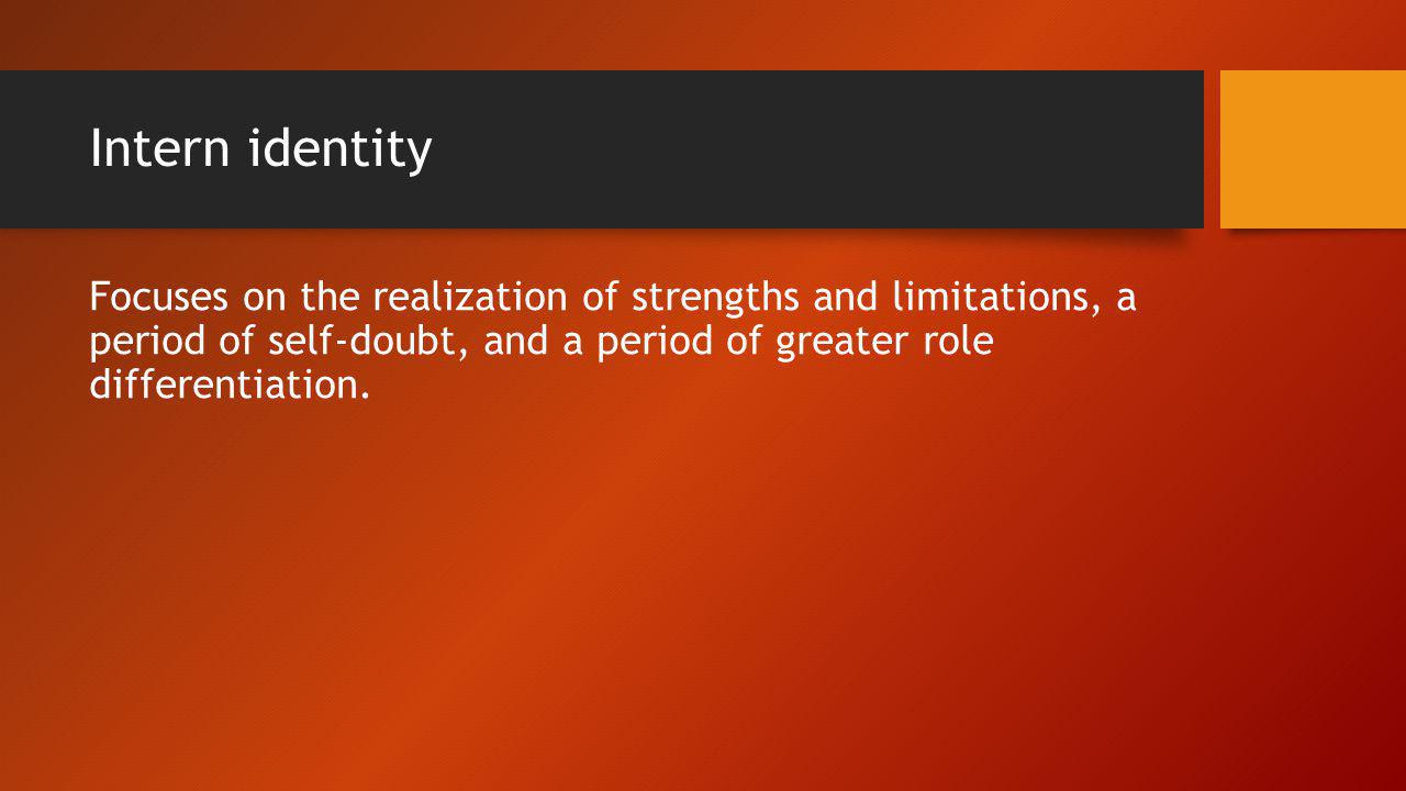 Intern identity Focuses on the realization of strengths and limitations, a period of self-doubt, and a period of greater role differentiation.