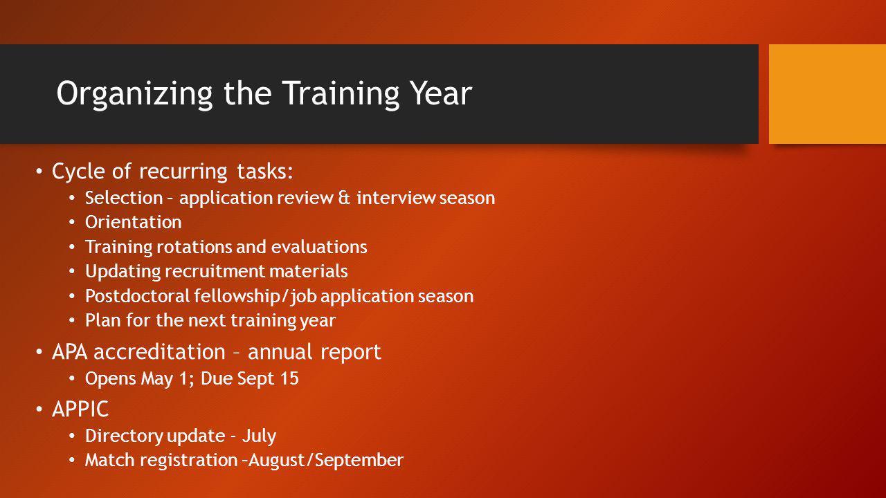 Organizing the Training Year
