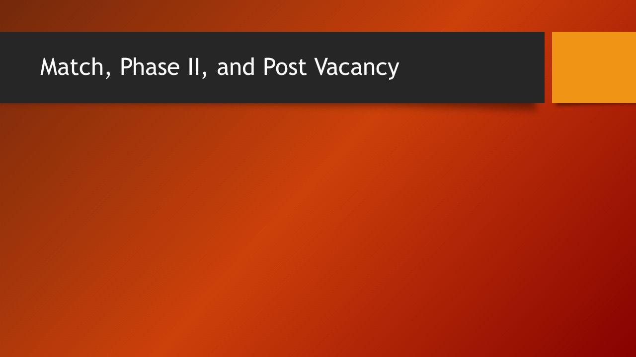Match, Phase II, and Post Vacancy