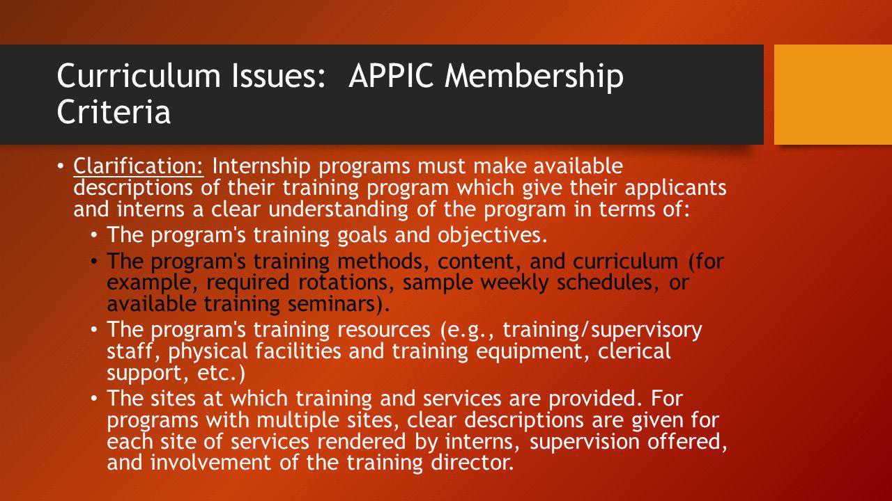 Curriculum Issues: APPIC Membership Criteria