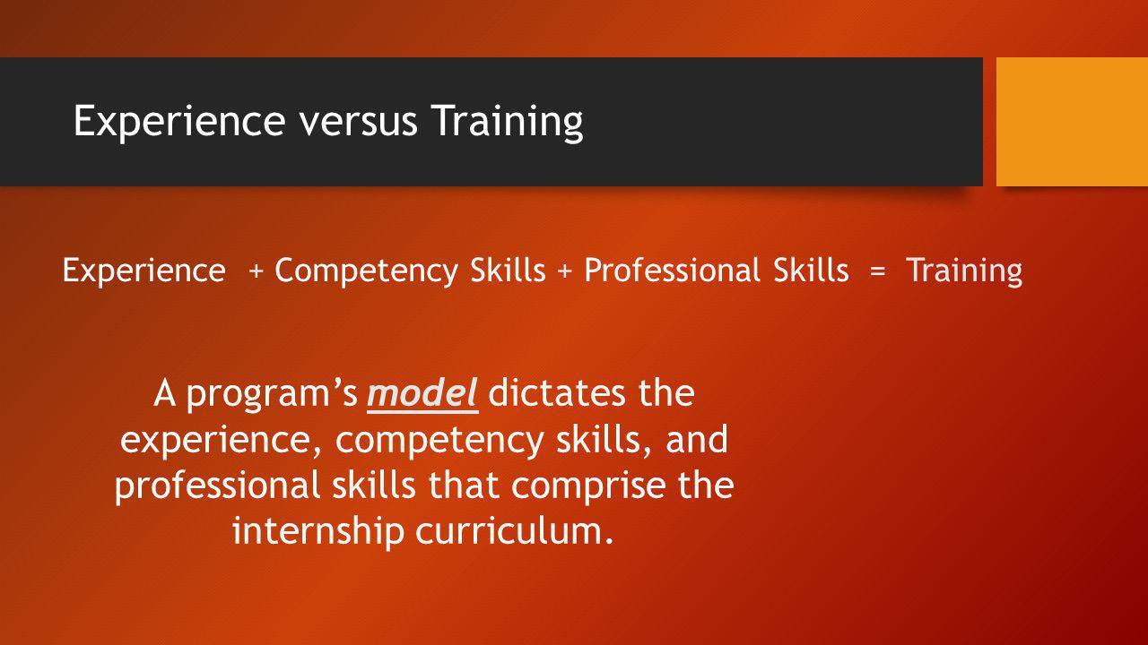 Experience versus Training