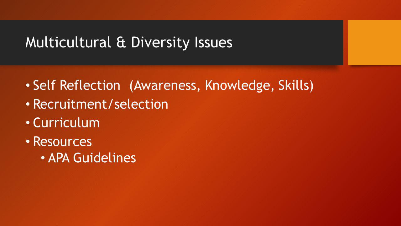 Multicultural & Diversity Issues