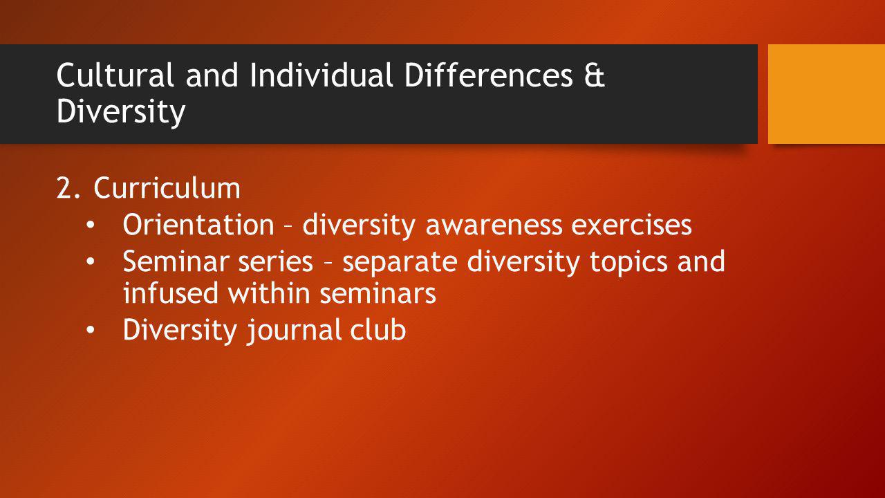 Cultural and Individual Differences & Diversity