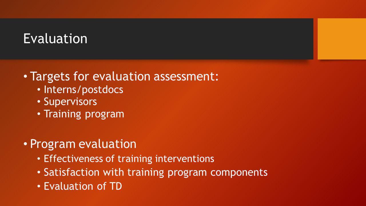 Evaluation Targets for evaluation assessment: Program evaluation