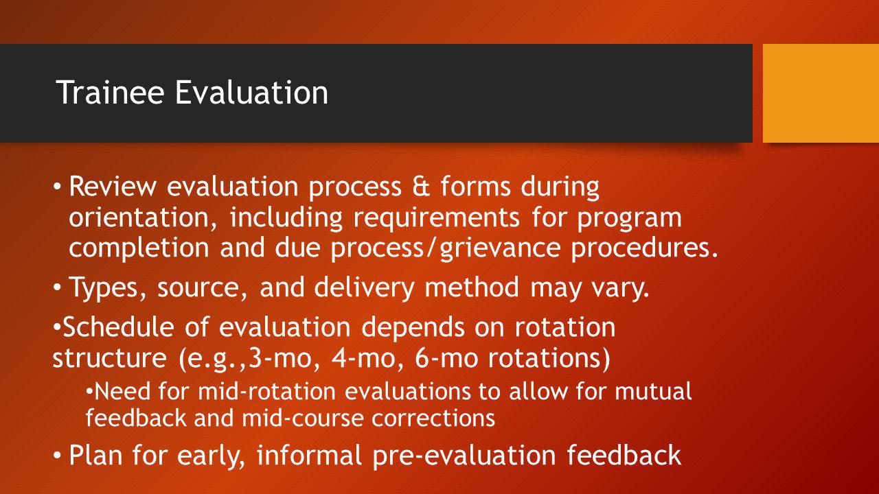Trainee Evaluation
