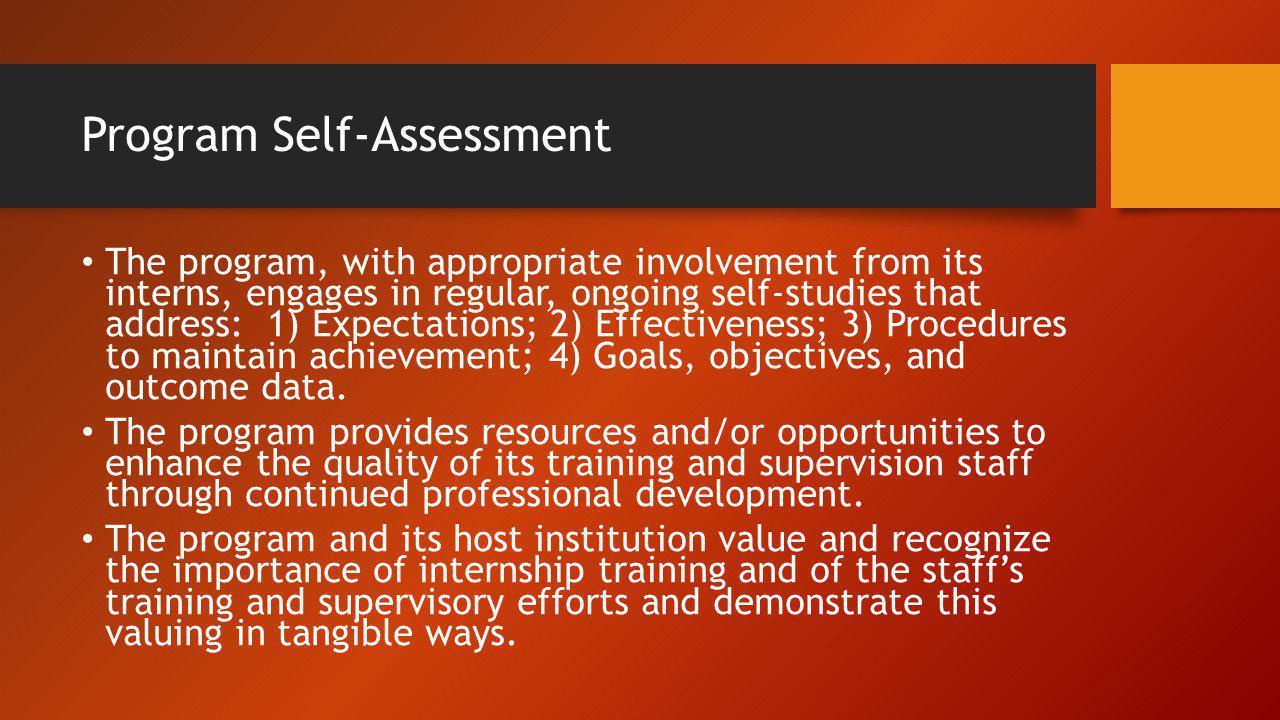 Program Self-Assessment