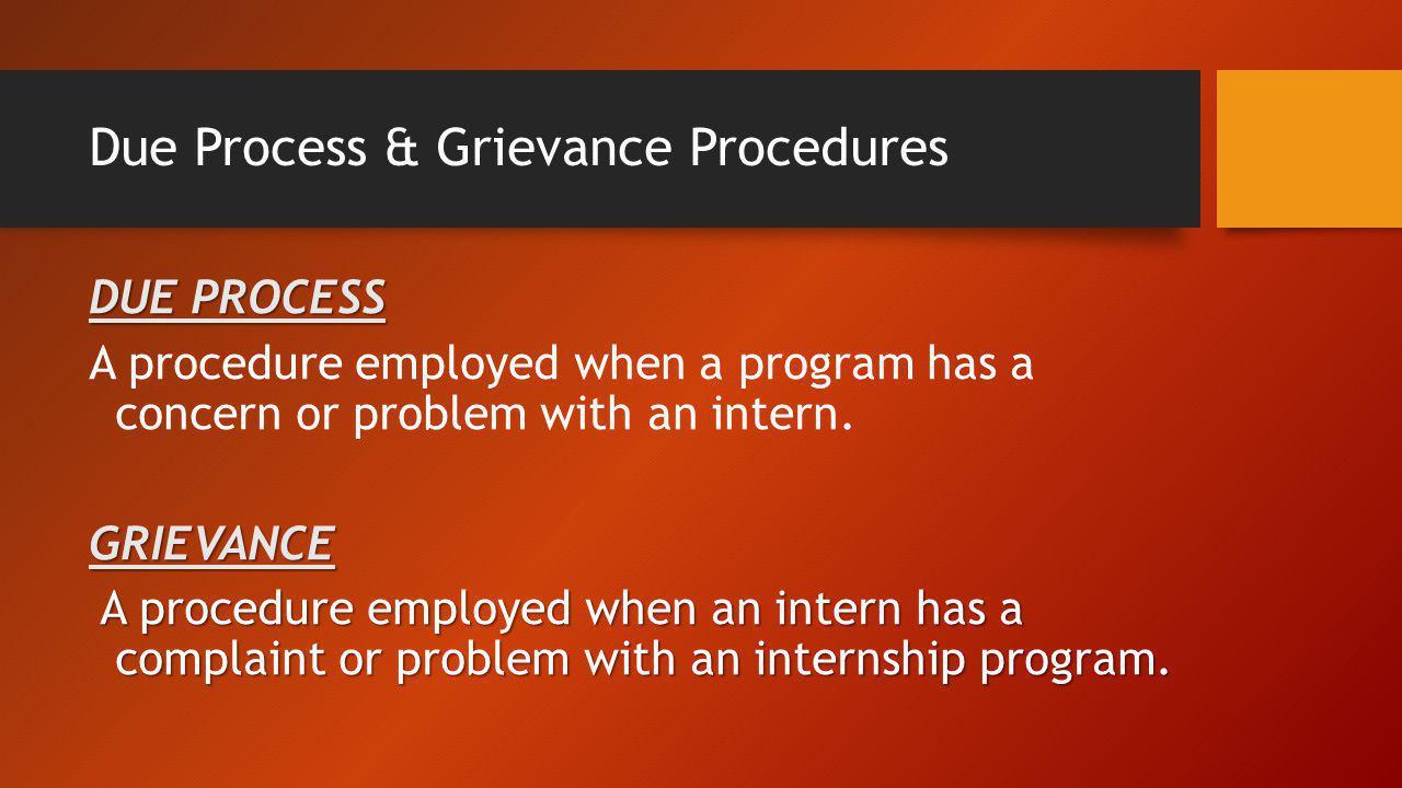 Due Process & Grievance Procedures