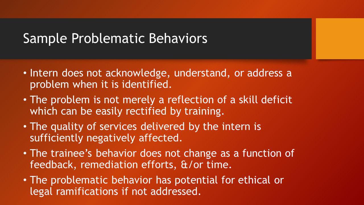 Sample Problematic Behaviors