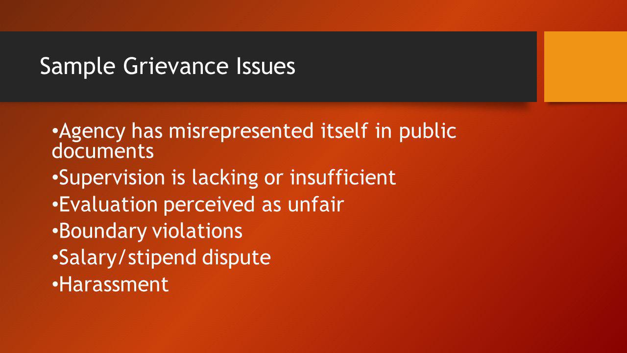 Sample Grievance Issues