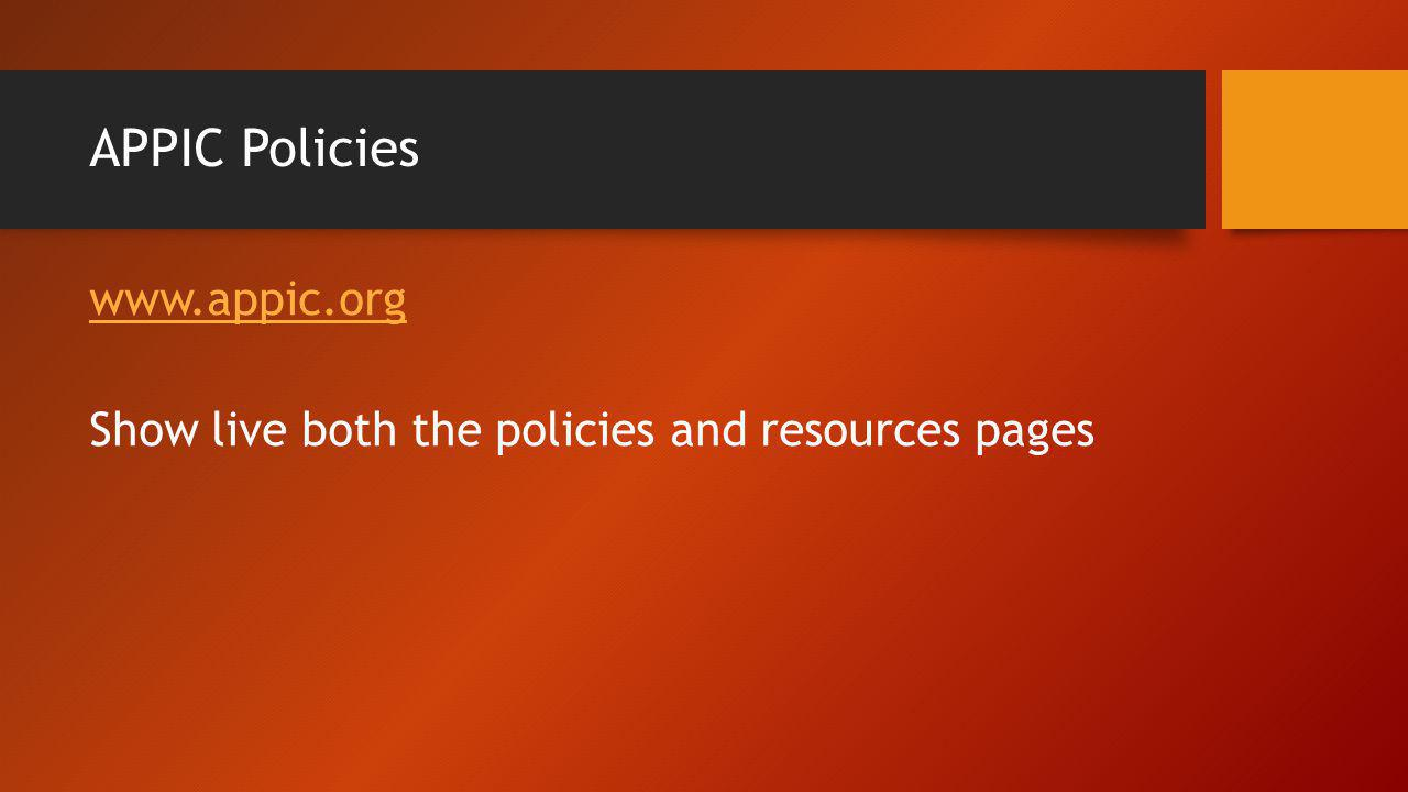 APPIC Policies www.appic.org