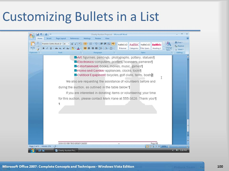 Customizing Bullets in a List