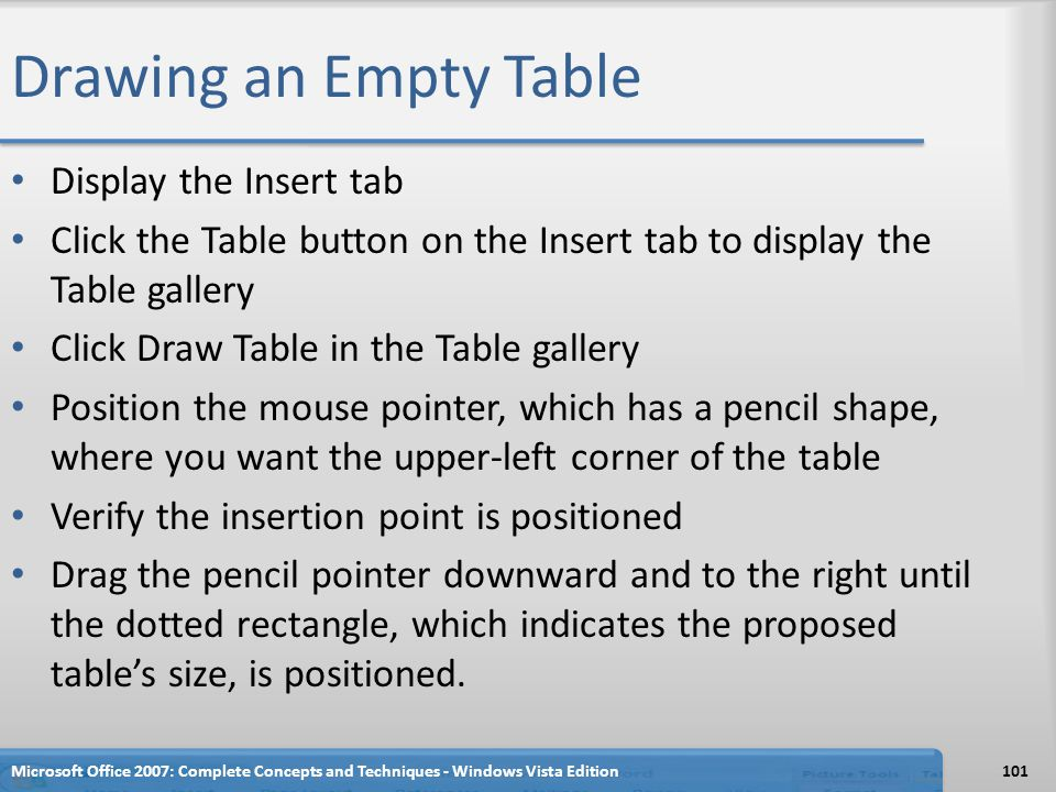 Drawing an Empty Table Display the Insert tab